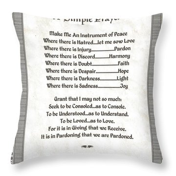 Pope Francis St. Francis Simple Prayer Peace On Parchment Throw Pillow by Desiderata Gallery
