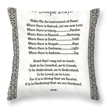 Pope Francis St. Francis Simple Prayer Pray For Peace On Parchment Throw Pillow by Desiderata Gallery