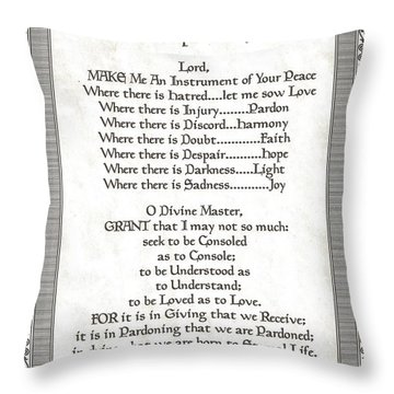 Pope Francis St. Francis Simple Prayer Scrolling Faith Throw Pillow by Desiderata Gallery