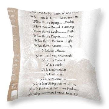 Pope Francis St. Francis Simple Prayer St. Teresa Throw Pillow by Desiderata Gallery
