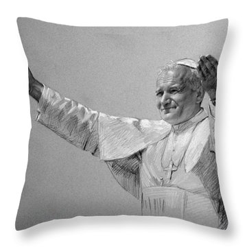 Pope John Paul II Bw Throw Pillow