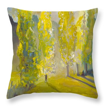 Poplars In The Morning Throw Pillow