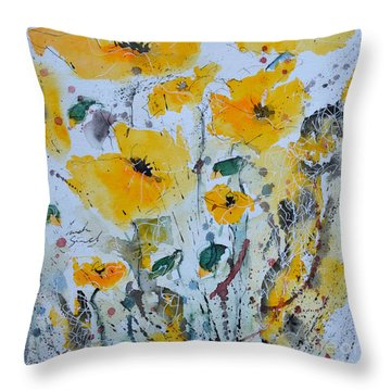 Throw Pillow featuring the painting Poppies 03 by Ismeta Gruenwald