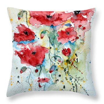 Throw Pillow featuring the painting Poppies 04 by Ismeta Gruenwald