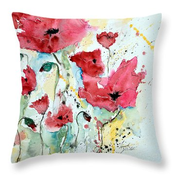 Throw Pillow featuring the painting Poppies 05 by Ismeta Gruenwald