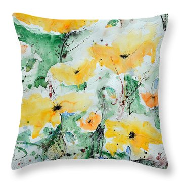 Throw Pillow featuring the painting Poppies 07 by Ismeta Gruenwald