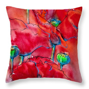 Throw Pillow featuring the painting Poppies 2 by Jani Freimann