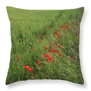 Throw Pillow featuring the photograph Red Poppies And Cornfield by Phil Banks