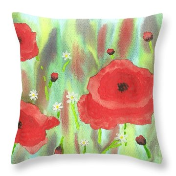 Poppies And Daisies Throw Pillow by John Williams
