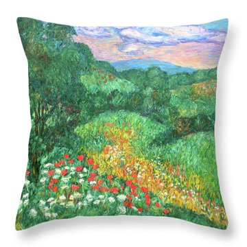 Poppies And Lace Throw Pillow by Kendall Kessler