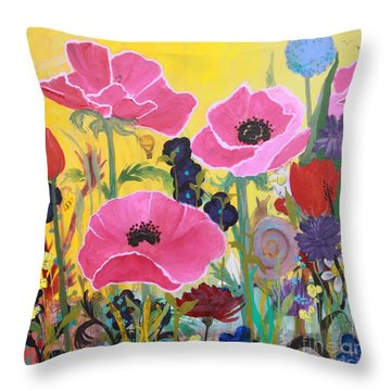 Throw Pillow featuring the painting Poppies And Time Traveler by Robin Maria Pedrero