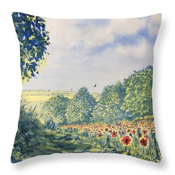 Poppies A'plenty Throw Pillow