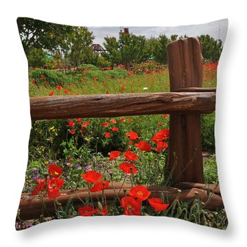 Poppies At The Farm Throw Pillow