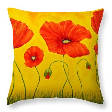 Poppies At The Time Of Throw Pillow by Veikko Suikkanen