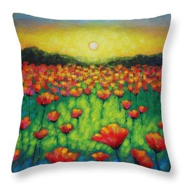 Poppies At Twilight Throw Pillow by John  Nolan