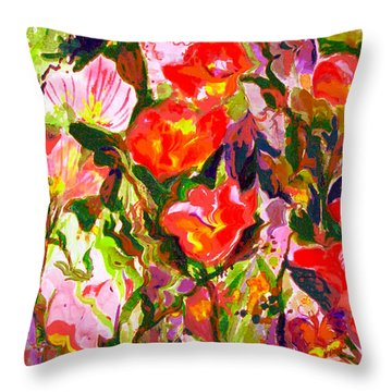 Poppies Throw Pillow by Beth Saffer