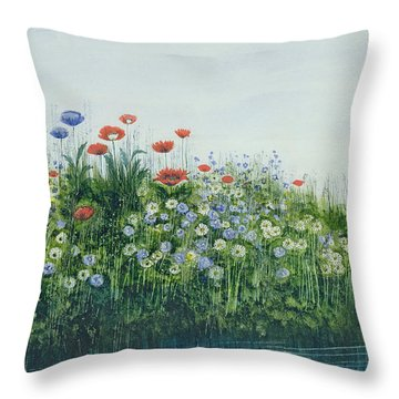 Poppies By A Stream Throw Pillow