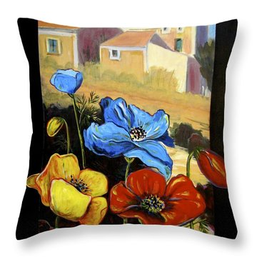 Poppies Citiscape Throw Pillow