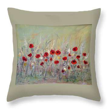 Throw Pillow featuring the painting Poppies by Dorothy Maier