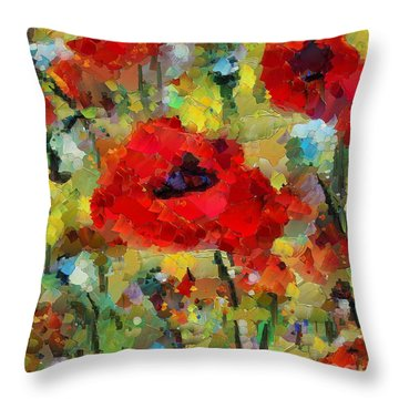 Poppies Throw Pillow by Dragica  Micki Fortuna