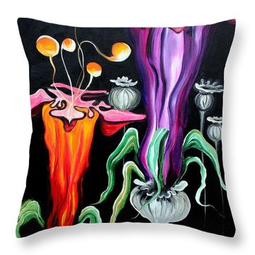 Poppies Fantasy.. Throw Pillow