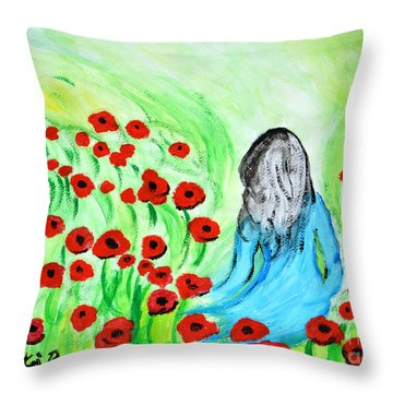 Poppies Field Illusion Throw Pillow