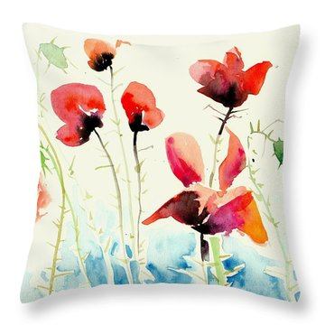 Poppies Field Poppy Watercolor Throw Pillow