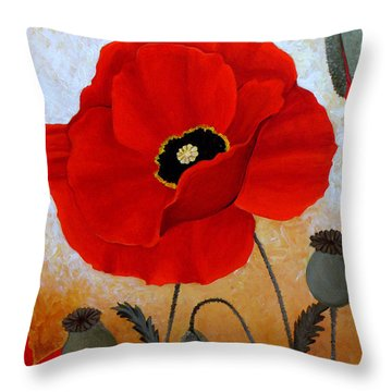 Poppies I Throw Pillow by Deyana Deco