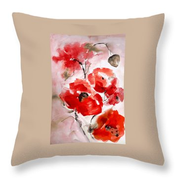 Poppies I Throw Pillow by Hedwig Pen