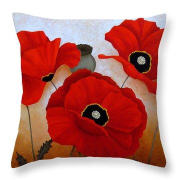 Poppies II Throw Pillow by Deyana Deco