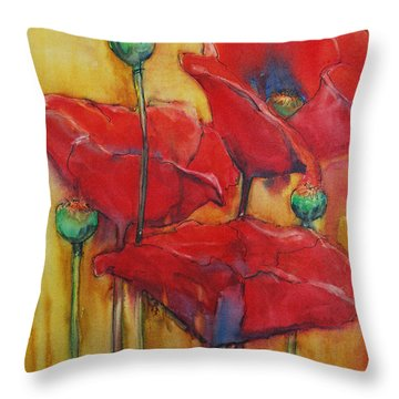 Throw Pillow featuring the painting Poppies IIi by Jani Freimann