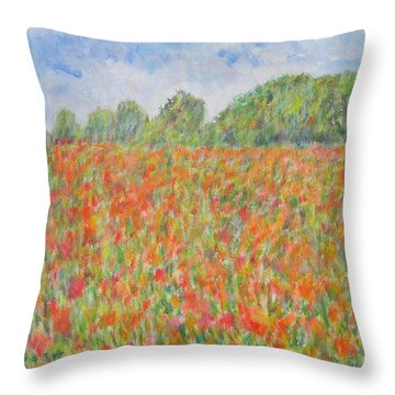 Poppies In A Field In Afghanistan Throw Pillow