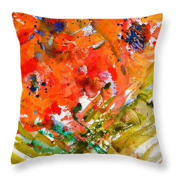 Poppies In A Hurricane Throw Pillow