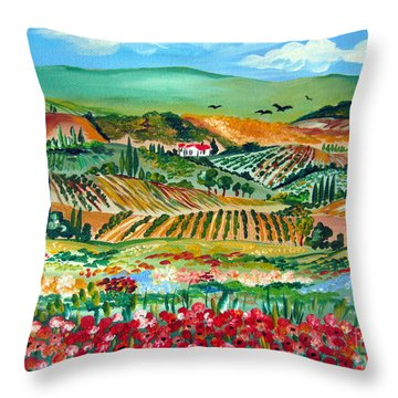 Poppies In Chianti Tuscany Throw Pillow