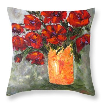 Poppies In Orange Vase Throw Pillow
