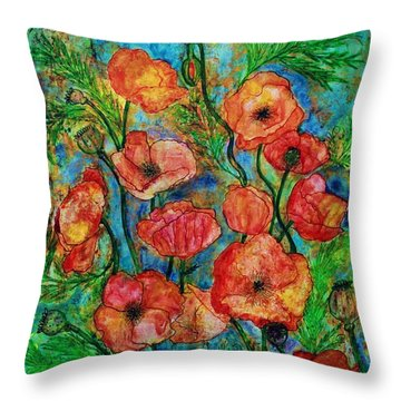 Poppies In Storm Throw Pillow