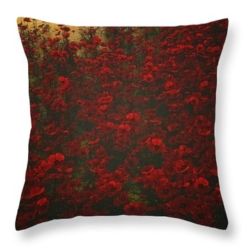 Poppies In The Rain Throw Pillow