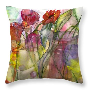 Poppies In The Sun Throw Pillow by Claudia Smaletz