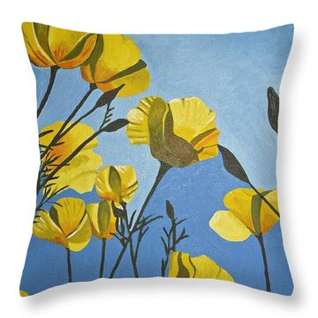 Poppies In The Sun Throw Pillow by Donna Blossom