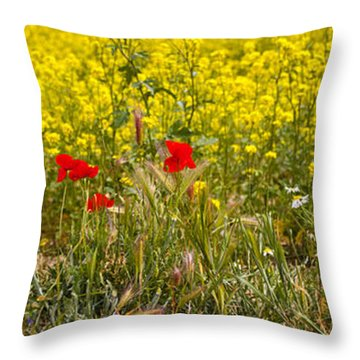 Poppies In Yellow Field Throw Pillow