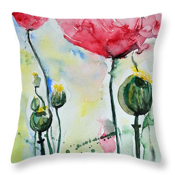 Throw Pillow featuring the painting Poppies by Ismeta Gruenwald