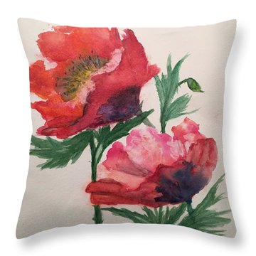 Poppies Throw Pillow by Lucia Grilletto