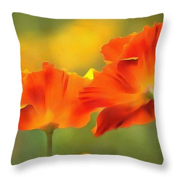 Poppies Throw Pillow by Marion Johnson