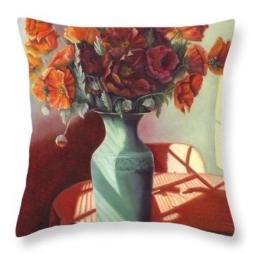 Throw Pillow featuring the painting Poppies by Marlene Book