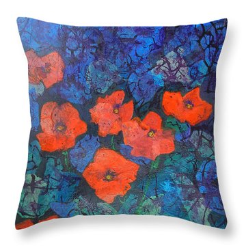 Throw Pillow featuring the painting Poppies by Mini Arora