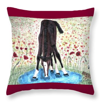 Throw Pillow featuring the painting Poppies N  Puddles by Angela Davies