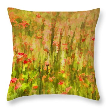 Poppies Of Tuscany II Throw Pillow