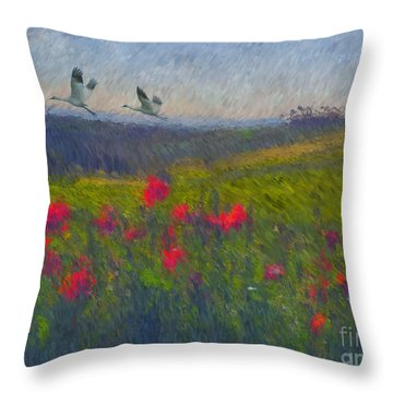 Throw Pillow featuring the digital art Poppies Of Tuscany by Lianne Schneider
