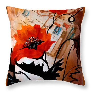 Poppies On Letters Throw Pillow