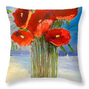 Throw Pillow featuring the painting Poppies On The Window Ledge by Pamela  Meredith
